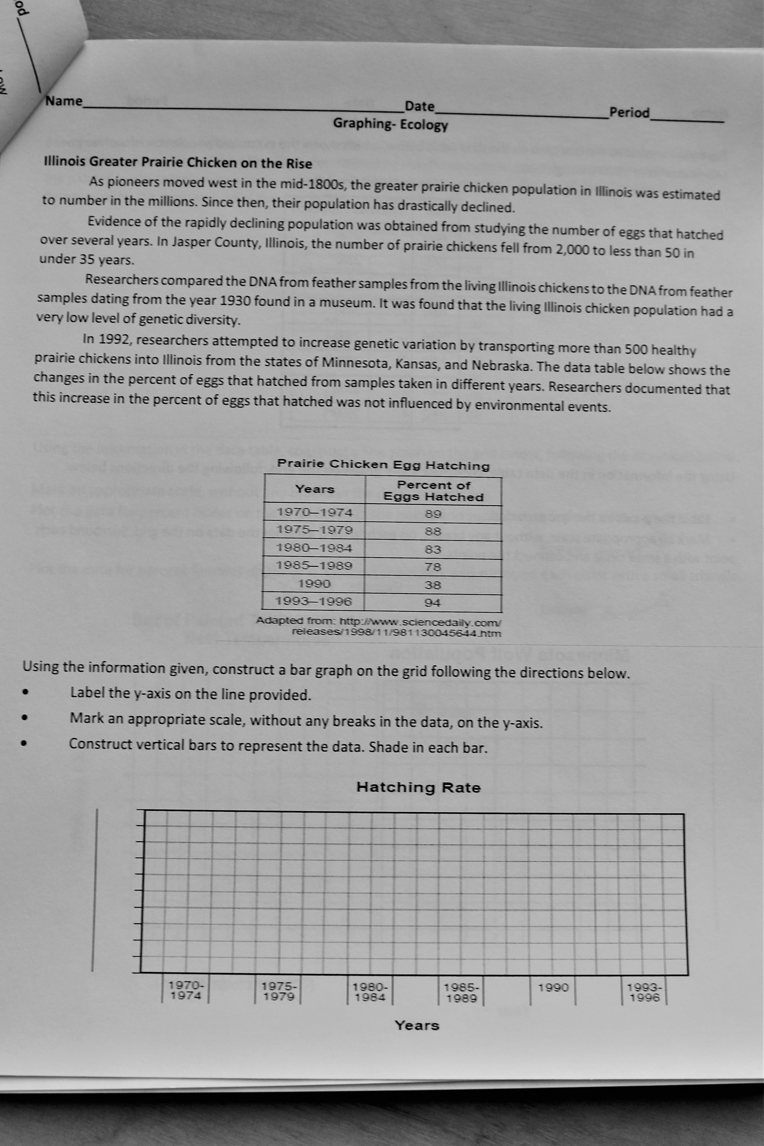Ecology Graphing Amp Extended Response Practice
