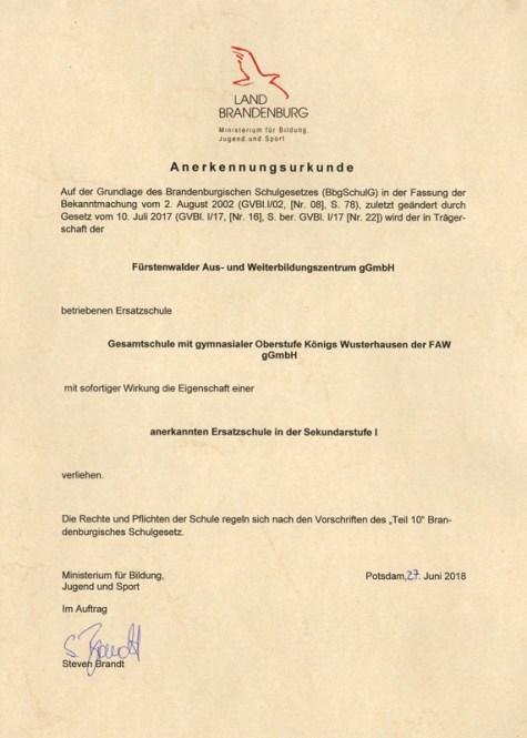 Gesamtschule Königs Wusterhausen_Staatlich anerkannte Ersatzschule Sekundarstufe I_Urkunde_Juni 2018