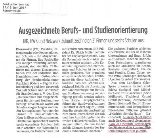GSP_Artikel Maerkischer Sonntag_ Auszeichnung Schule mit hervorragender Berufs- u. Studienorient. vom 17. Juni 2017