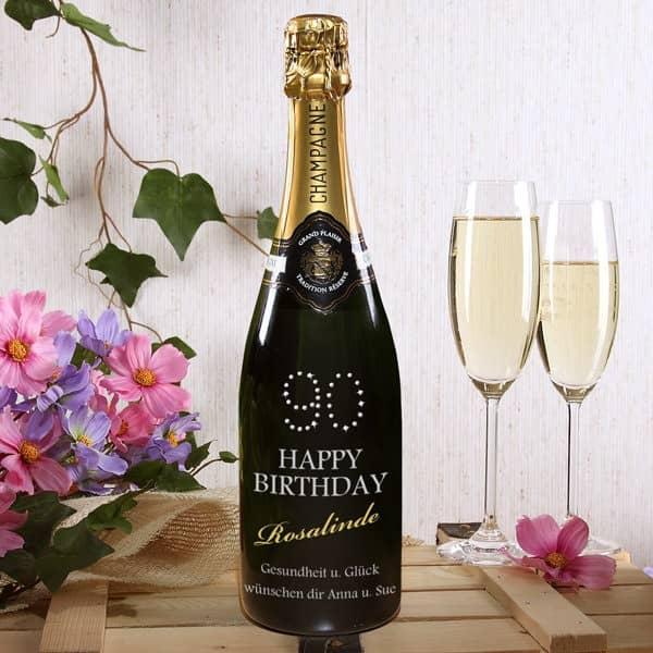 Champagner  mit persnlicher Gravur zum 90 Geburtstag