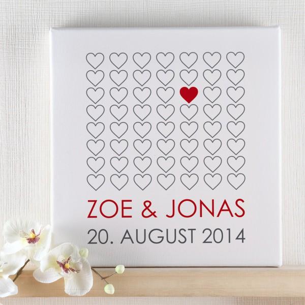 Leinwand  zur Hochzeit mit Herzchen und Namen und Datum