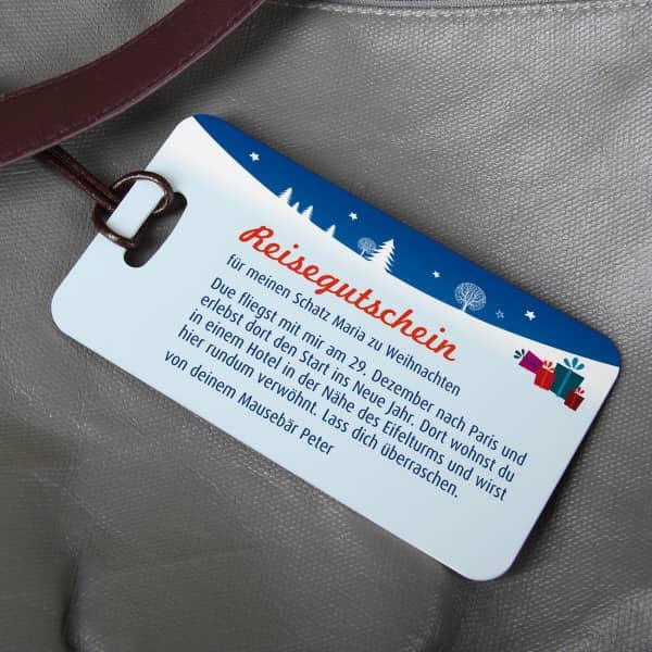 Weihnachtlicher Kofferanhnger  als Reisegutschein
