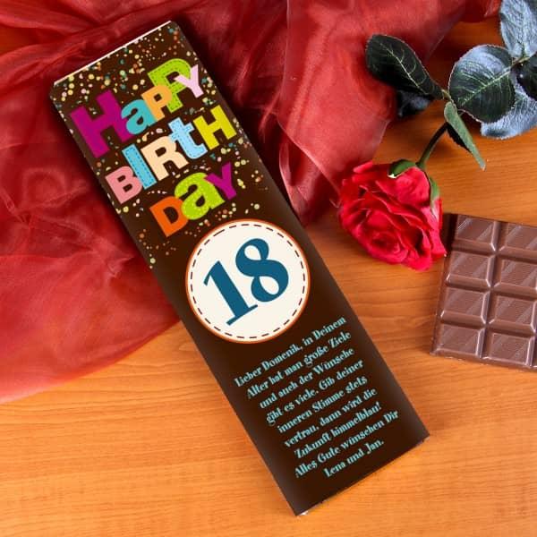 300g Schokolade zum Geburtstag mit groer Altersangabe