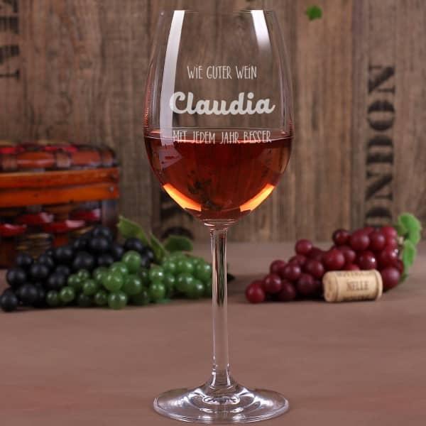 graviertes Leonardo Weinglas zum Geburtstag  wie guter