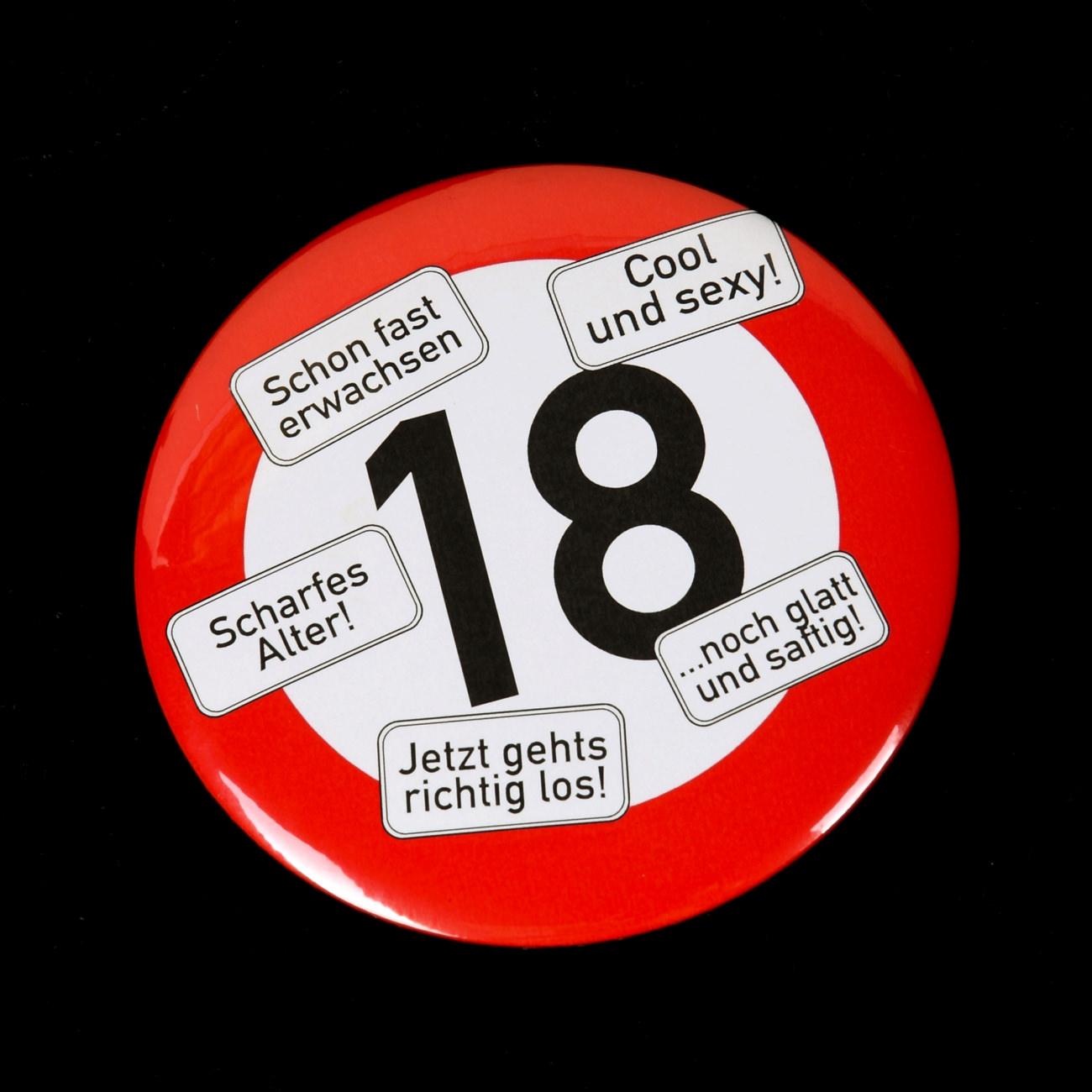XXL Button  RiesenButton Verkehrsschild 18  geschenke