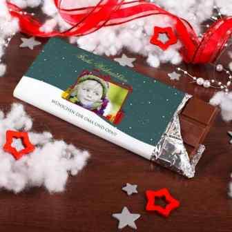 100g Weihnachtsschokolade mit Foto und Wunschtext