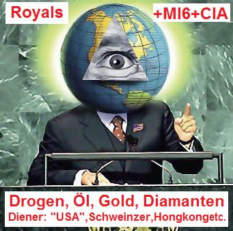 """Das Pyramidenauge mit den kriminellen Royals und ihren direkten, kriminellen Geheimdiensten MI6 und CIA. Die Dienergruippen sind die """"USA"""", die Schweinz und Hongkong etc."""