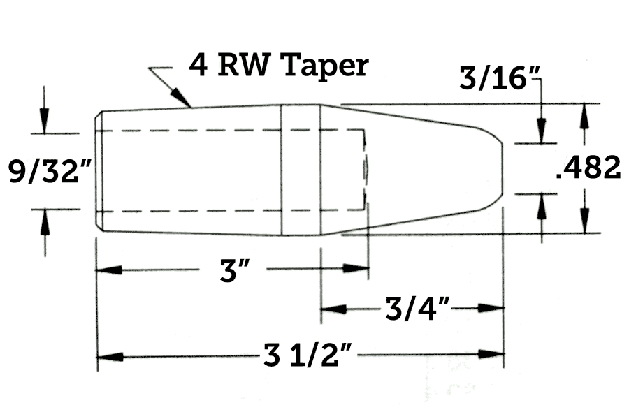 CMW 12114 Straight Electrode, Pointed, 4RW Taper, 3.5