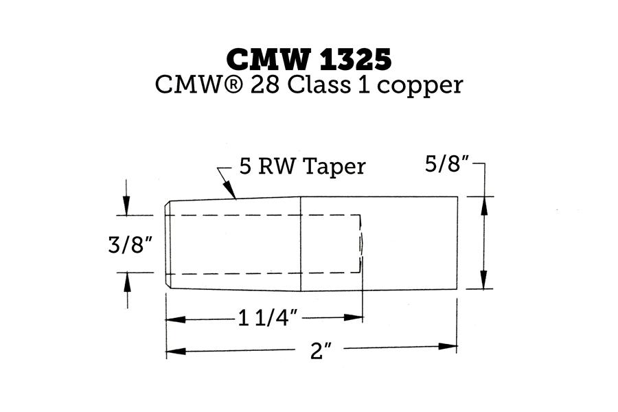 CMW 1325 Straight Electrode, Flat, 5RW, 2″ Length (Set of