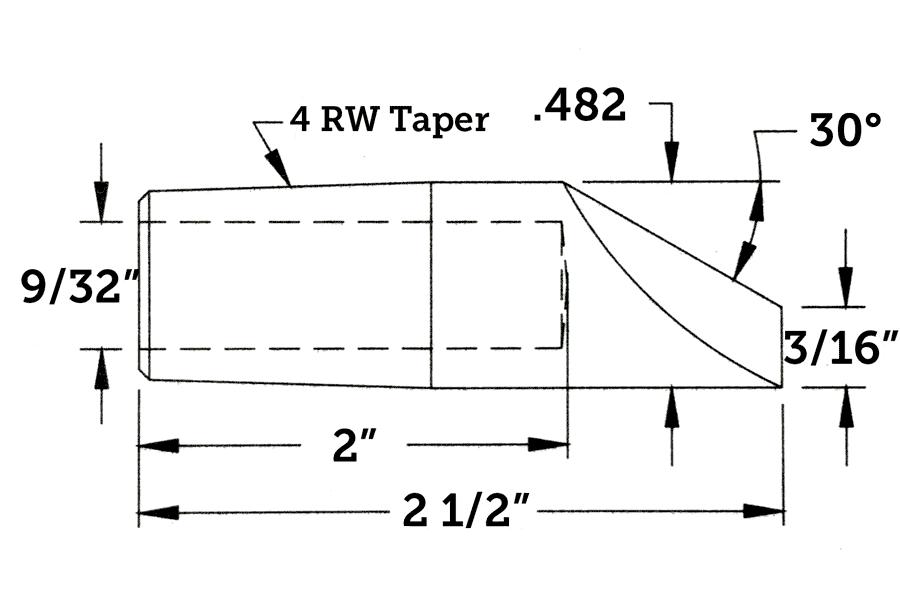 CMW 1417 Straight Electrode, Offset, 4RW Taper, 2.5