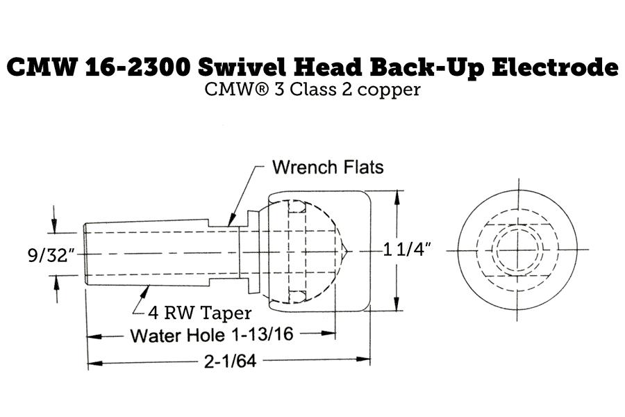 CMW 16-2300 Swivel Head Back-Up Electrode, 4RW Taper, 1.25