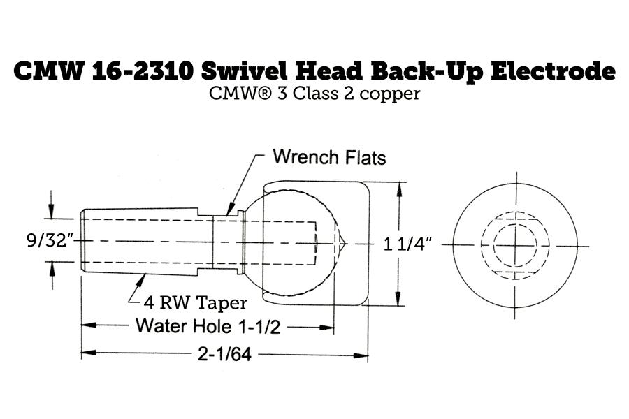 CMW 16-2310 Swivel Head Back-Up Electrode, 4RW Taper, 1.25