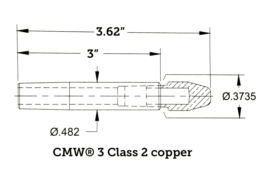 CMW 3019 Female Shank for Male Caps with 4RW Taper, 3