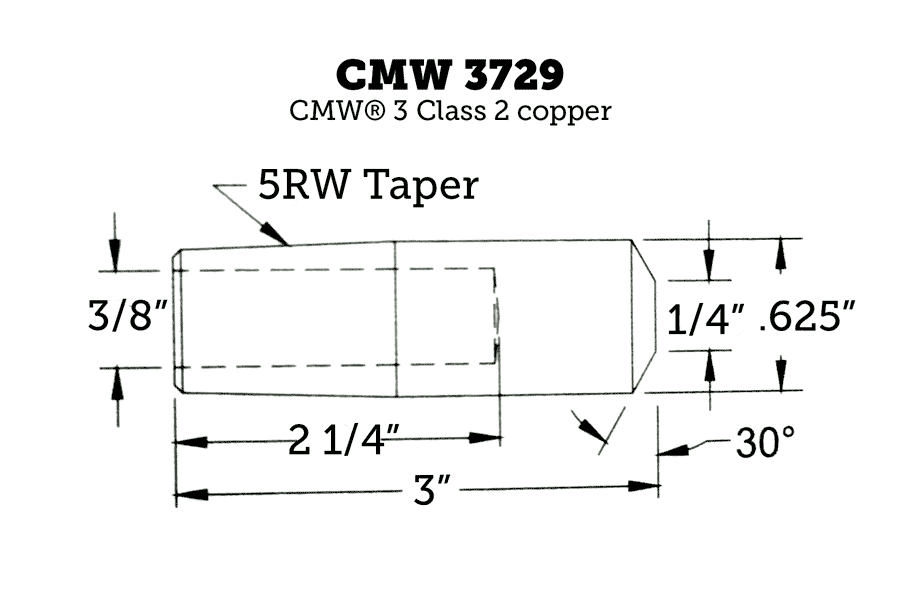 CMW 3729 Straight Electrode with Truncated Nose, 5RW Taper