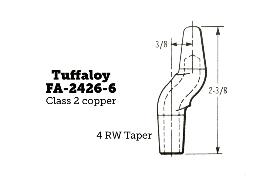 Tuffaloy FA-2426-6 Double-Bend Tips, Pointed, 4RW Taper, 2