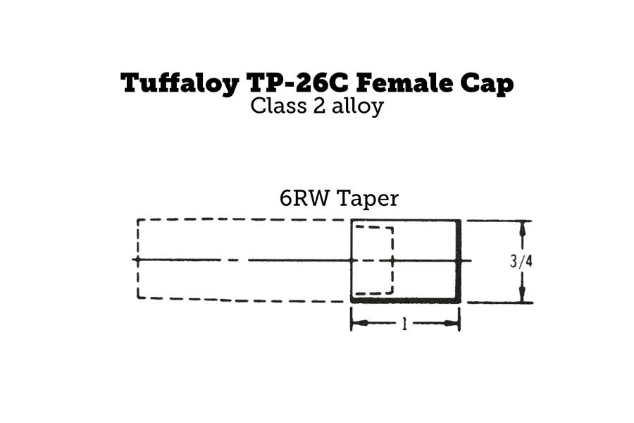 Tuffaloy TP-26C Female Cap, Flat, 6RW Taper, 1″ Length