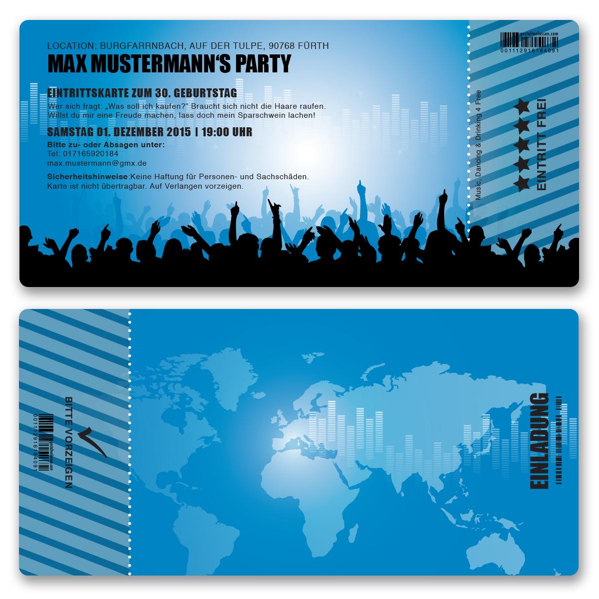 Einladungskarten als Eintrittskarte in blau ab 55 Cent