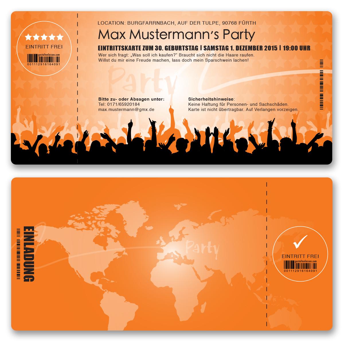 Einladungskarten als Eintrittskarte in Orange ab 55 Cent