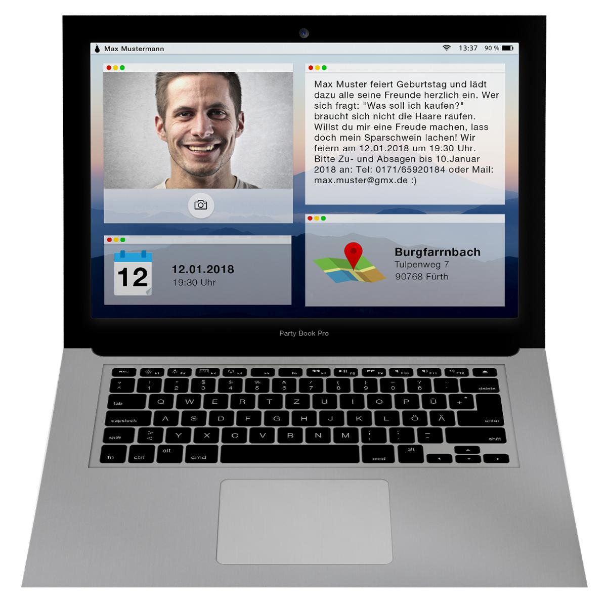 Einladungskarten als Laptop mit Bild  online gestalten