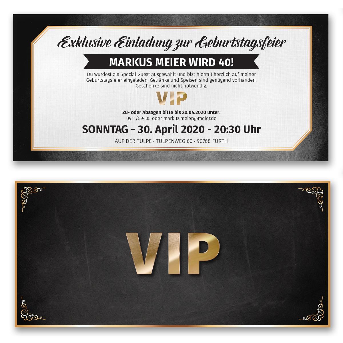 Einladungskarten als VIPTicket ab 55 Cent  Einladung