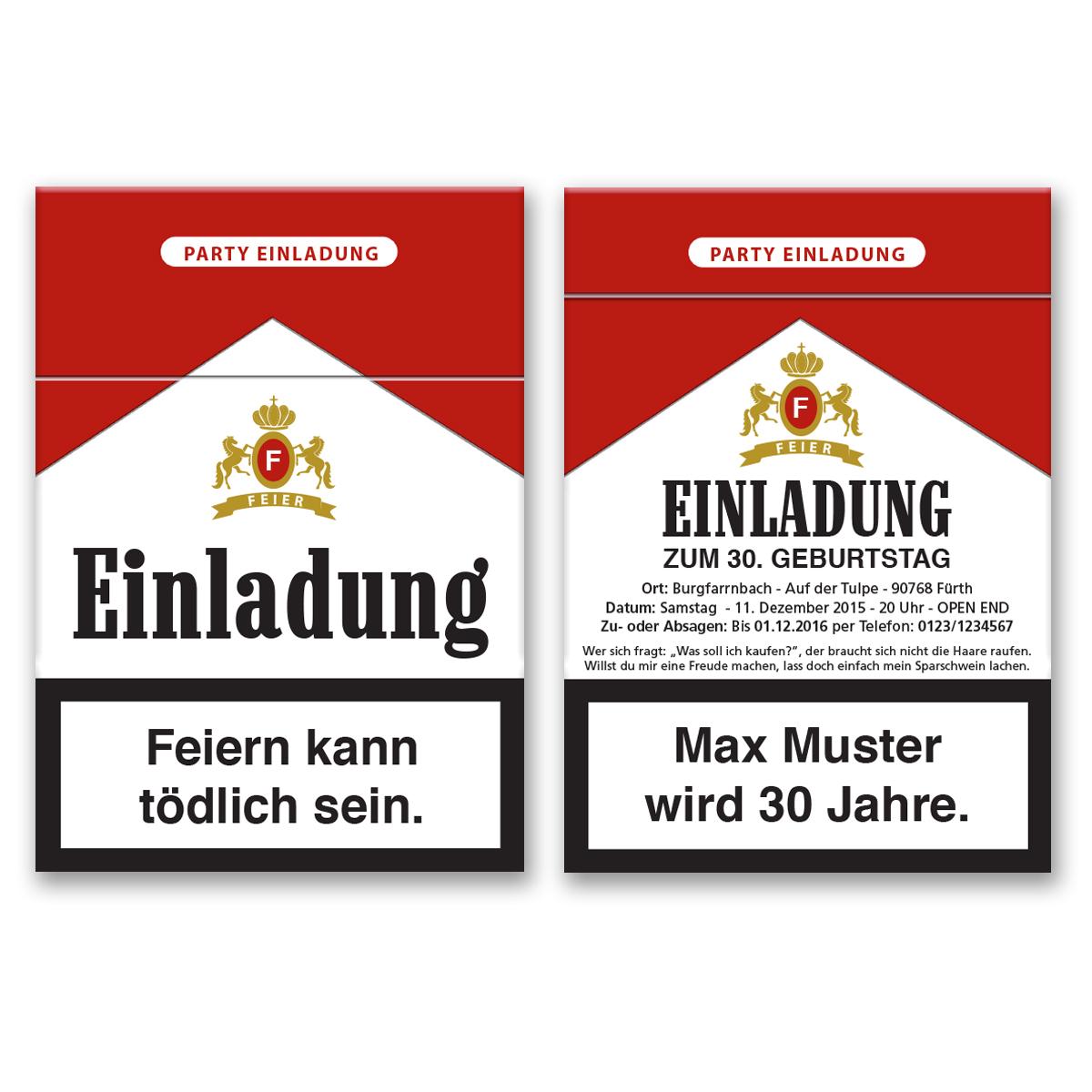 Einladungskarten als Zigarettenschachtel online gestalten