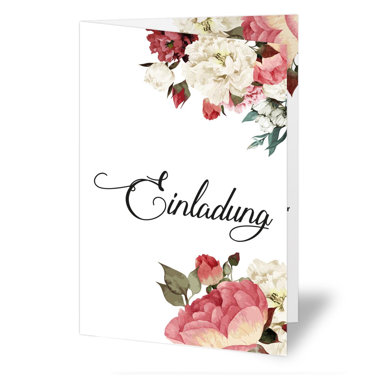 Einladungen zur Hochzeit Blumen Rosen Klappkarten