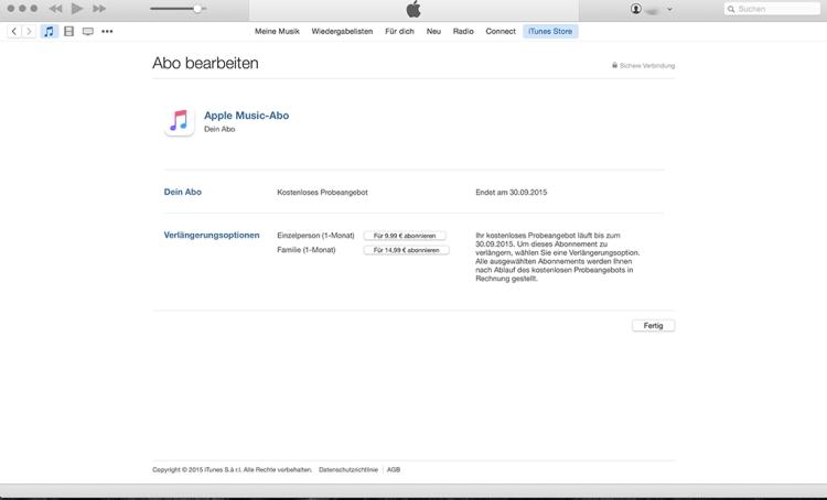 Schritt 7: Fertig! Da automatische verlängern des kostenpflichtigen Abos für Apple Music ist jetzt deaktiviert. Zur Auswahl stehen nun wieder beide Abomodelle.