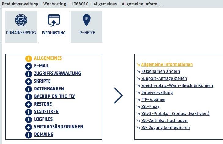 HostEurope Adminoberfläche Webpack