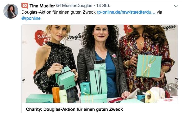 Aktueller Tweet: Tina Müller mit Influencern für Douglas. Reputation