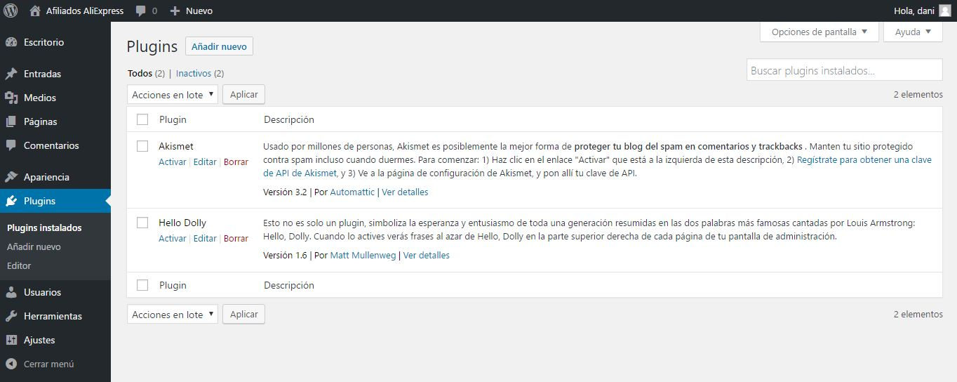 Sección de plugins de WordPress