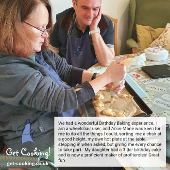 Accessible cooking lessons using wheelchair
