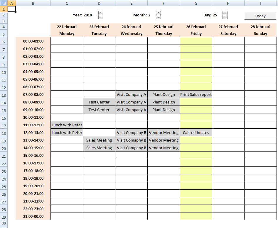 excel weekly calendar templates