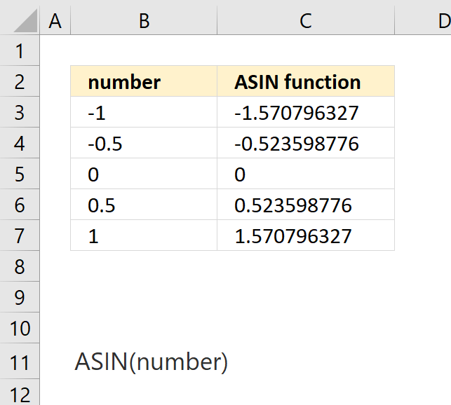 How to use the ASIN function