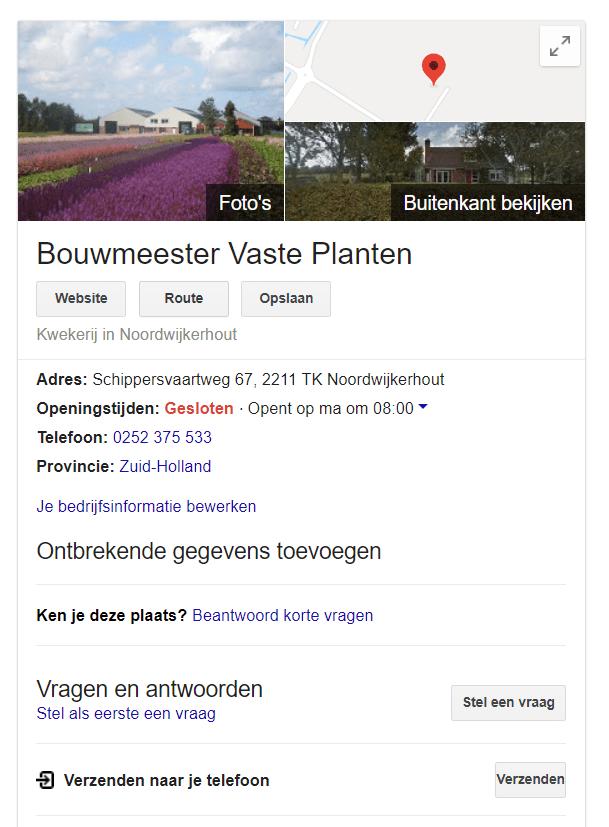 Google My Business - Bouwmeester Plants