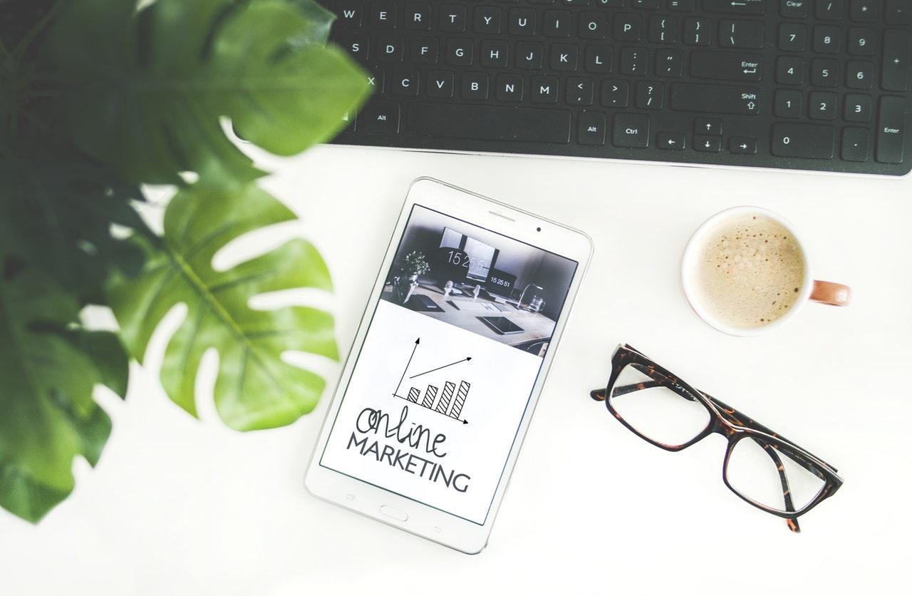 Online marketing desk with tablet