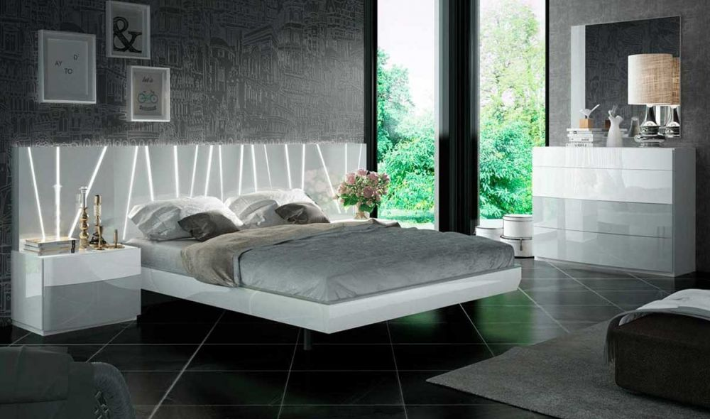 ronda modern bedroom set with salvador bed in white light gray