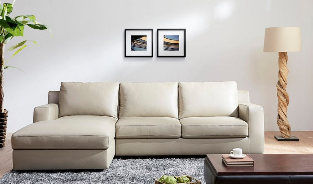 jenny premium leather sectional sofa sleeper in ivory