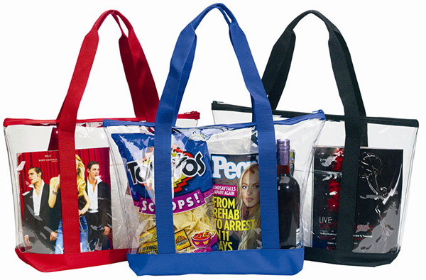 Large Clear Tote Bag w Zipper Closure  Front Pocket