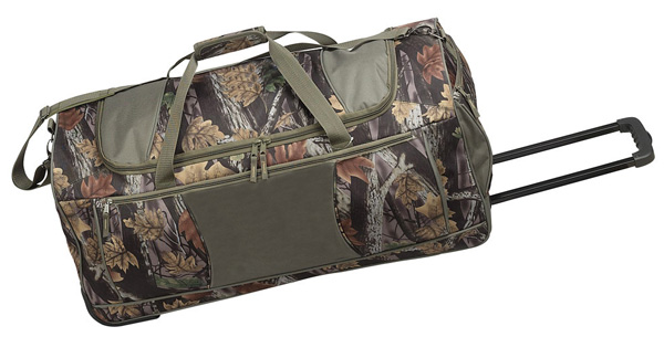 Rolling Camo Duffle Bag w Multiple Pockets  Recess Wheels