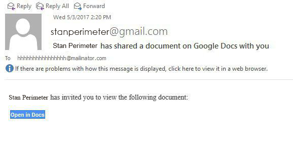 Google Docs Phishing Scam Example 1