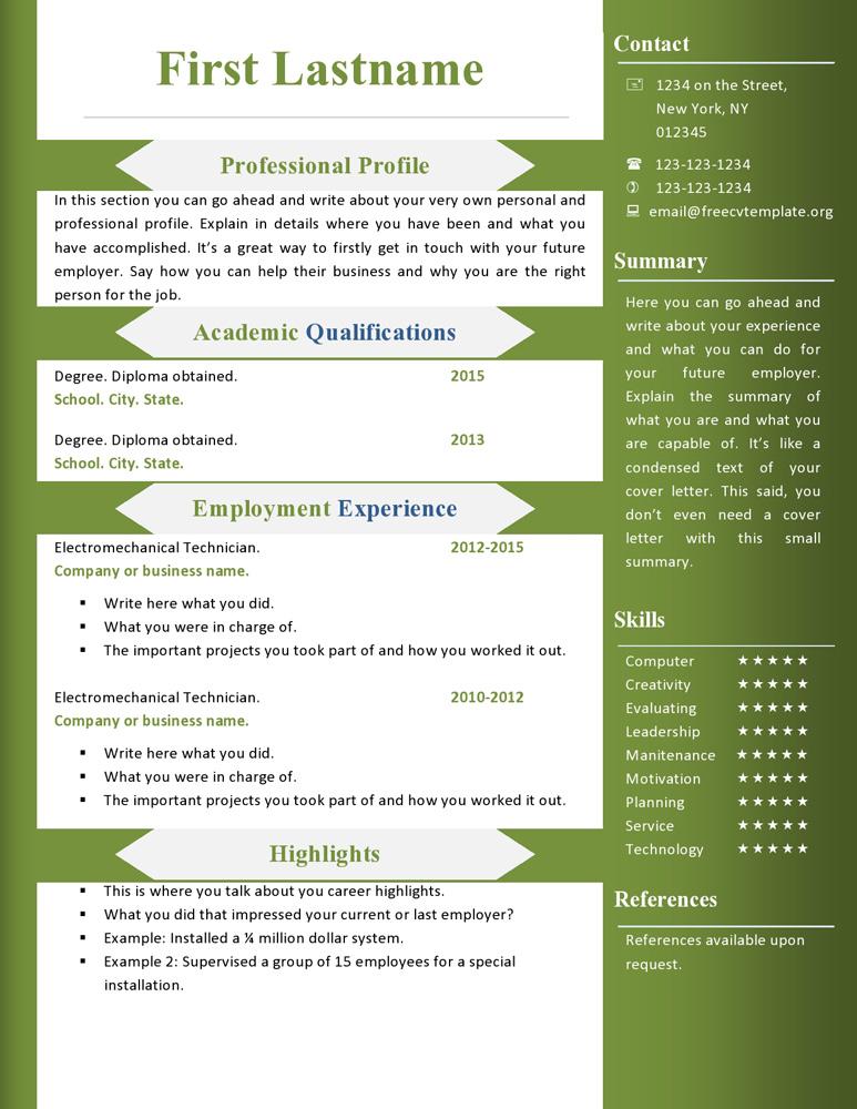 Free Cv Resume Templates #360 To 366 • Get A Free CV