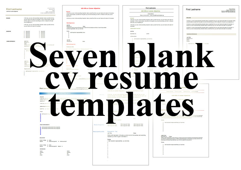7 free blank cv resume templates for download • Get A Free CV