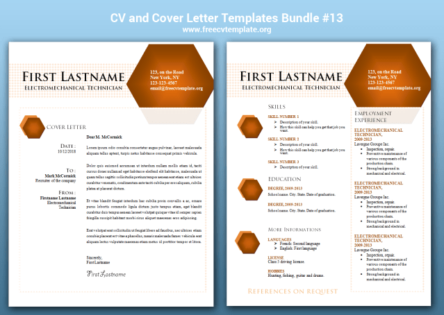 CV and Cover Letter Bundle #13