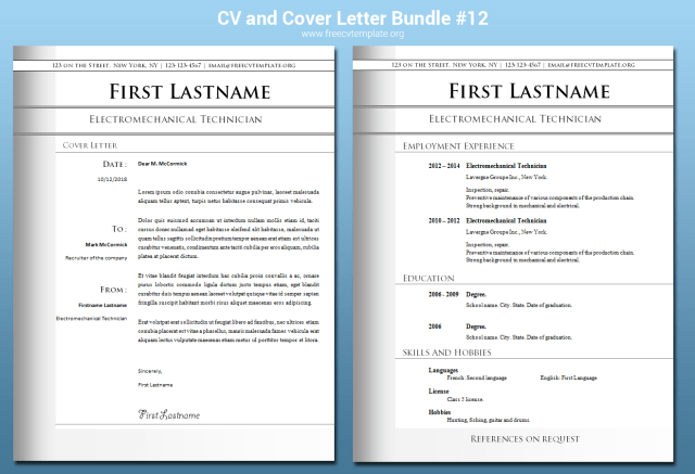CV and Cover Letter Templates Bundle #12