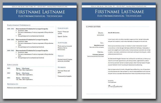 cv résumé and cover letter bundle