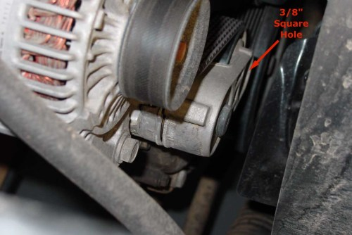small resolution of step 2 finding the belt tensioner and wrench pivot hole
