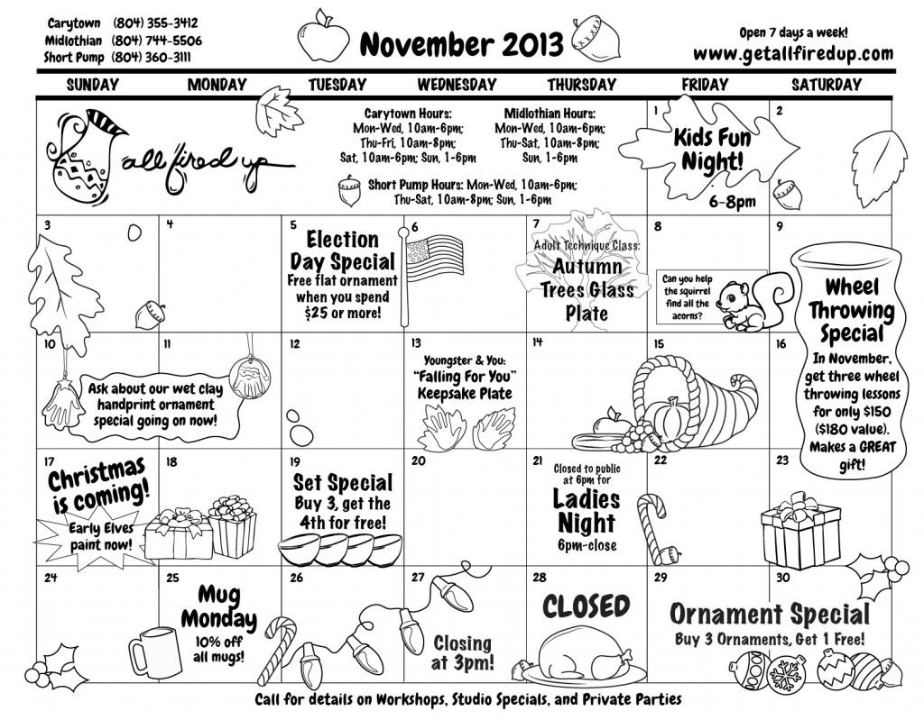 11 November 2013 Calendar Front