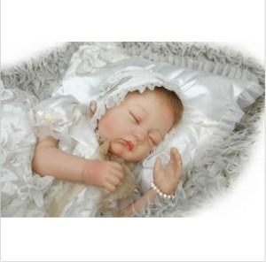 "22""Realistic Handmade Lifelike Reborn Baby Doll Girl Newborn Soft Vinyl silicone doll image"