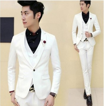Korean Mens One Button Slim Fit Wedding Party Blazer Suit Jacket Vest Pants Z745 Image