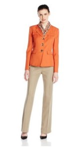 Le Suit Women's 3 Button Notch Collar Jacket and Skirt with Scarf Image